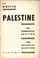 Palestine: The communist position, the colonial question