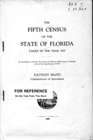fifth census of the state of Florida taken in the year 1925